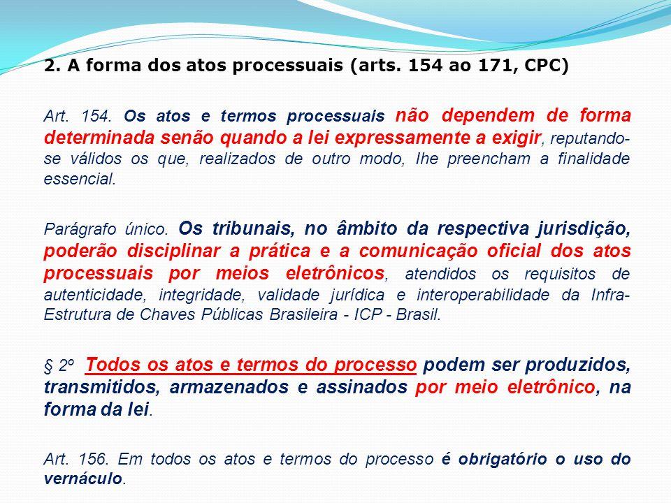 2. A forma dos atos processuais (arts. 154 ao 171, CPC)
