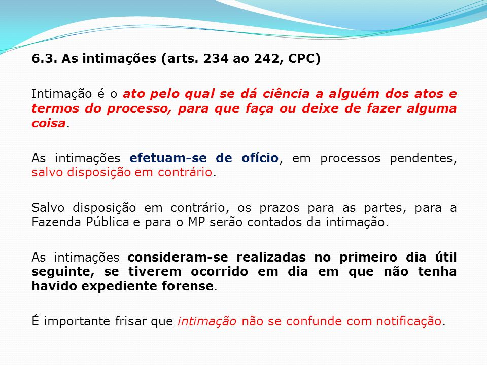 6.3. As intimações (arts.