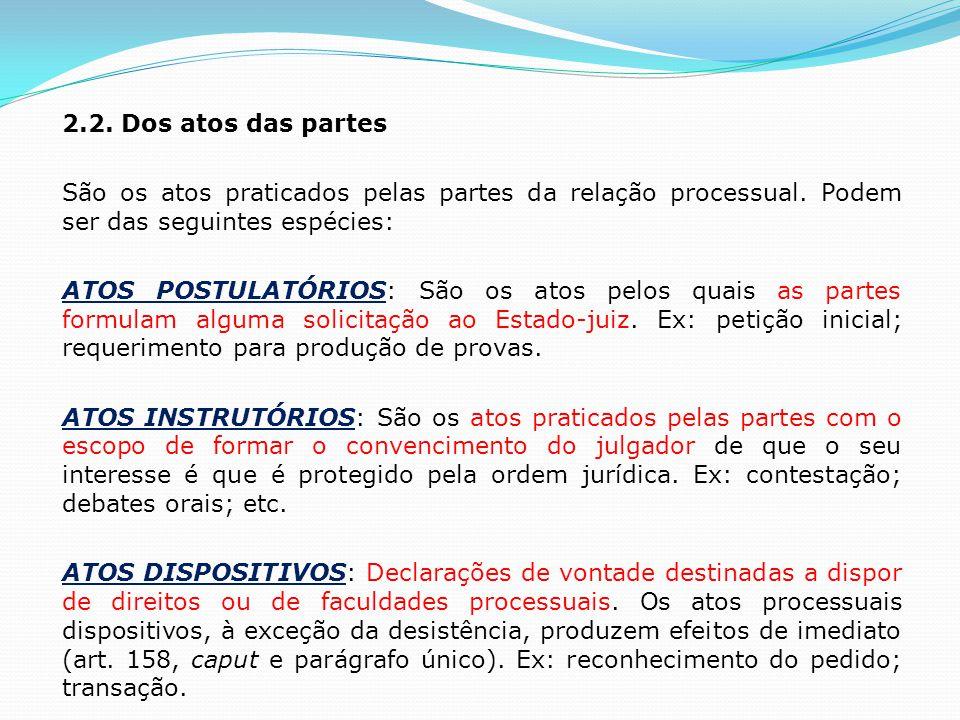 2.2. Dos atos das partes São os atos praticados pelas partes da relação processual.