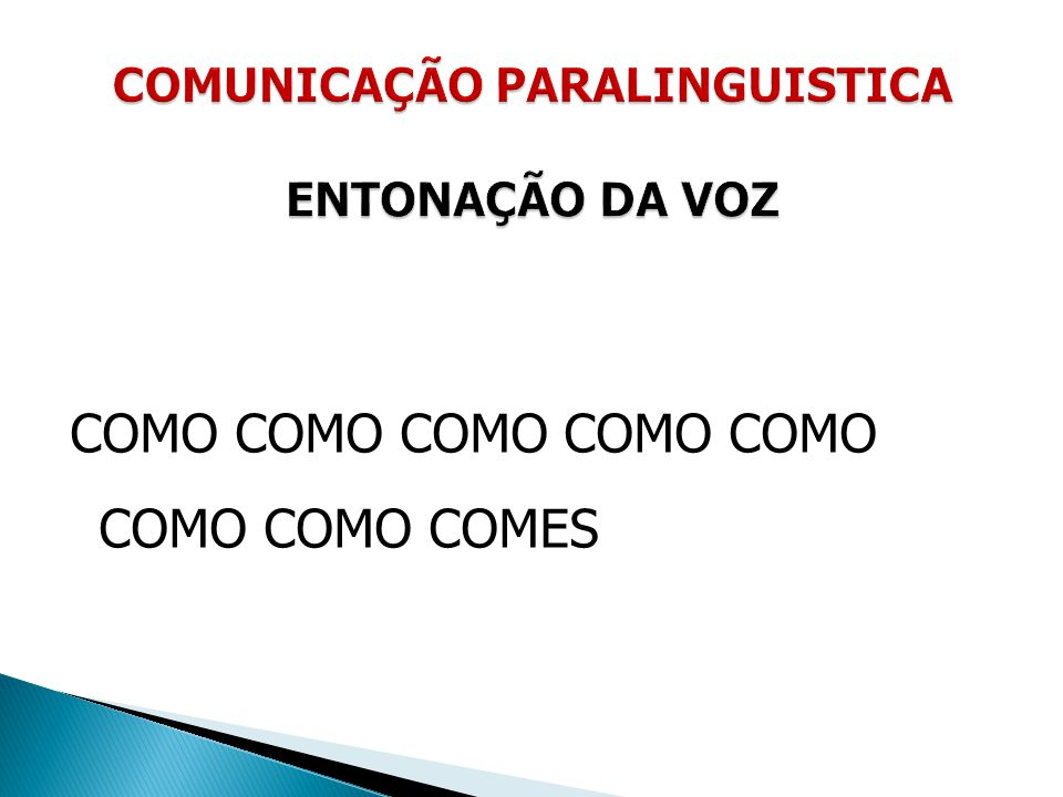 COMUNICAÇÃO PARALINGUISTICA ENTONAÇÃO DA VOZ