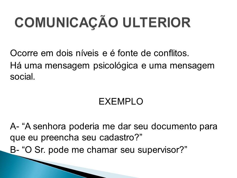 COMUNICAÇÃO ULTERIOR Ocorre em dois níveis e é fonte de conflitos.