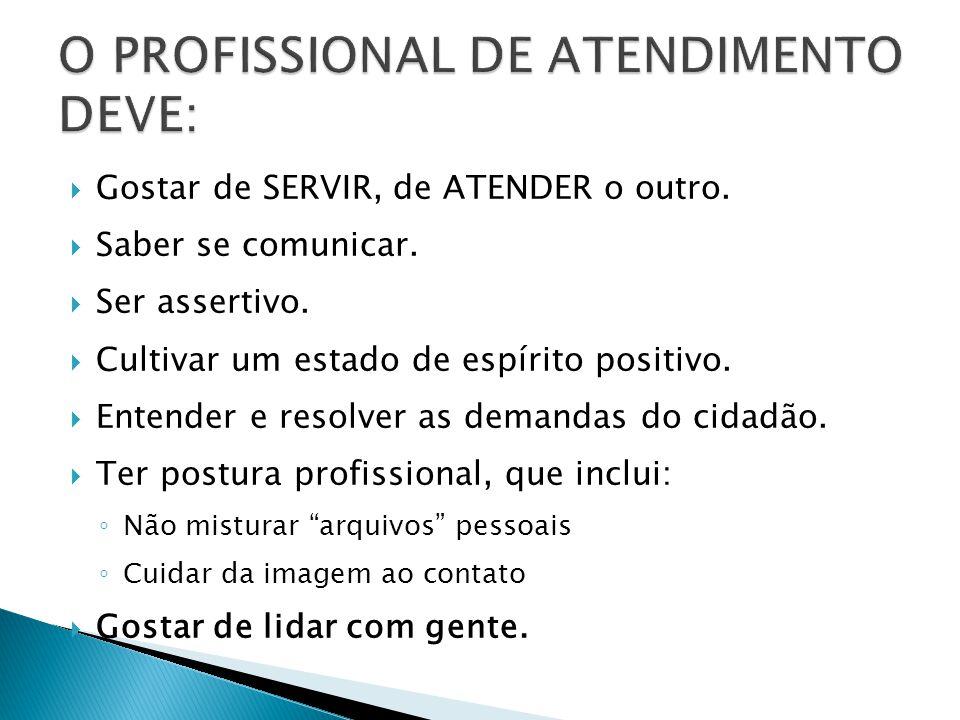 O PROFISSIONAL DE ATENDIMENTO DEVE: