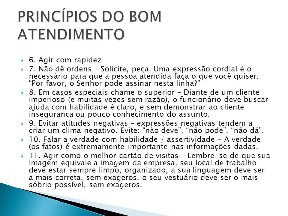 PRINCÍPIOS DO BOM ATENDIMENTO