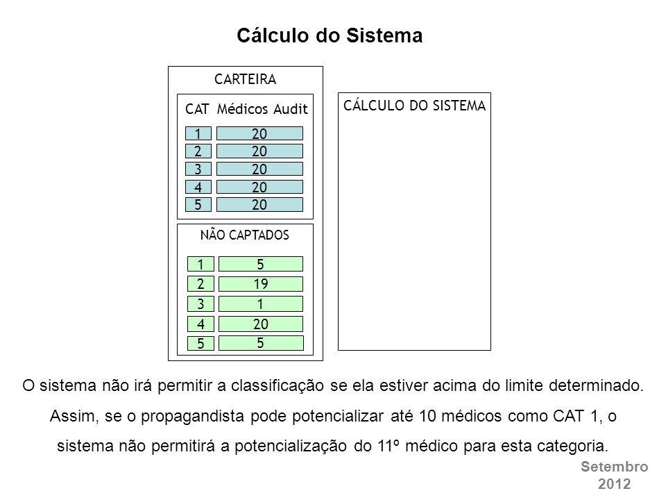 Cálculo do Sistema CARTEIRA. CAT. Médicos Audit. CÁLCULO DO SISTEMA. 20. 1. 20. 2. 20. 3. 20.