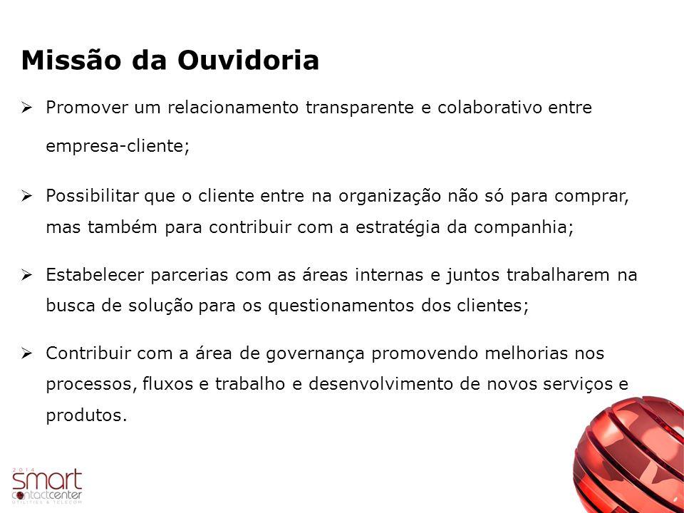 Missão da Ouvidoria Promover um relacionamento transparente e colaborativo entre empresa-cliente;