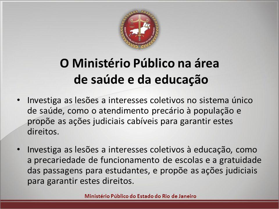 O Ministério Público na área de saúde e da educação
