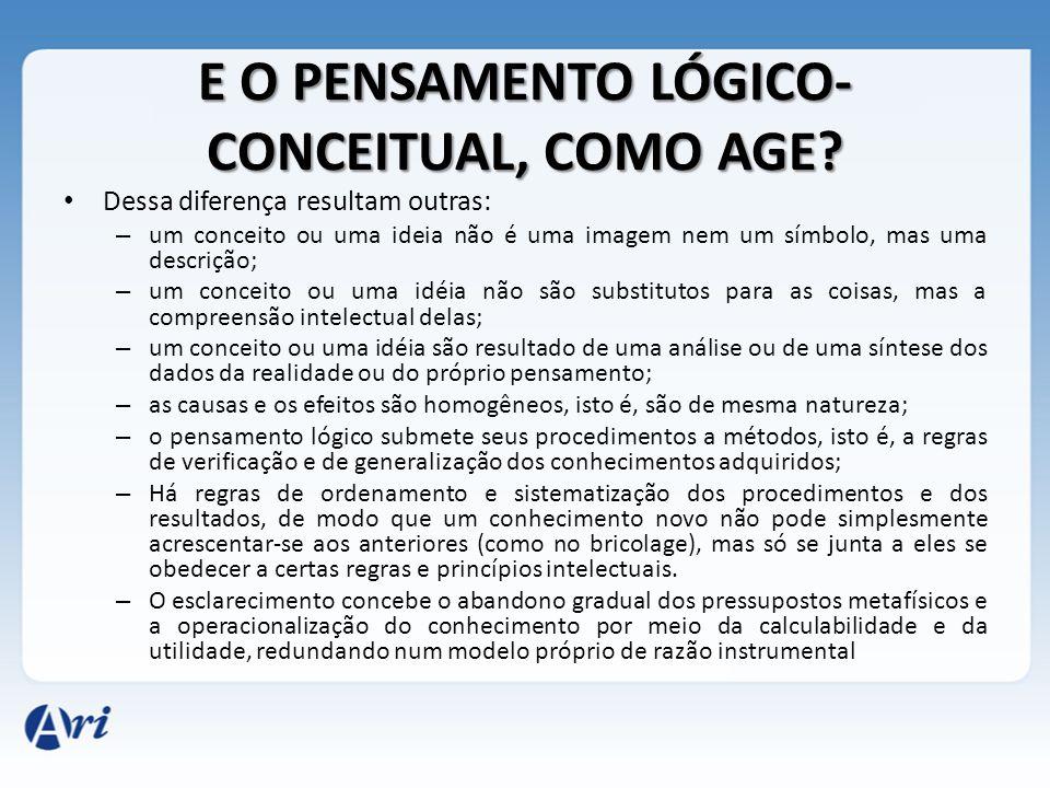 E O PENSAMENTO LÓGICO-CONCEITUAL, COMO AGE