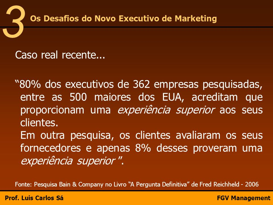 3 Os Desafios do Novo Executivo de Marketing. Caso real recente...