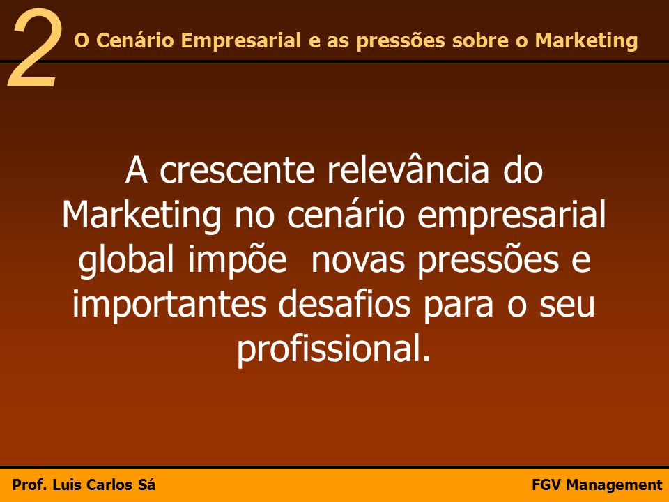 2 O Cenário Empresarial e as pressões sobre o Marketing.