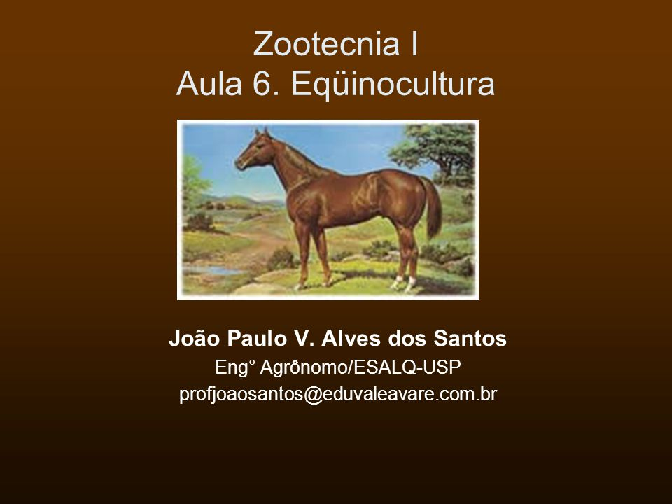Zootecnia I Aula 6. Eqüinocultura