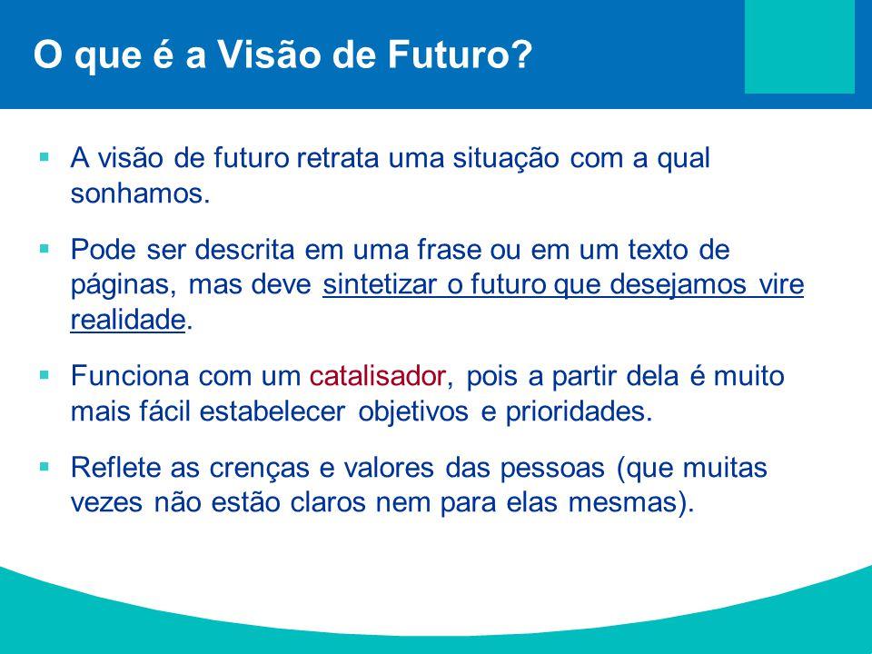 O que é a Visão de Futuro A visão de futuro retrata uma situação com a qual sonhamos.