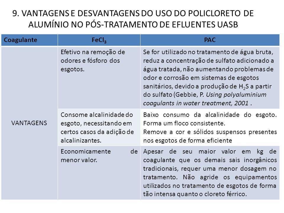 9. VANTAGENS E DESVANTAGENS DO USO DO POLICLORETO DE ALUMÍNIO NO PÓS-TRATAMENTO DE EFLUENTES UASB