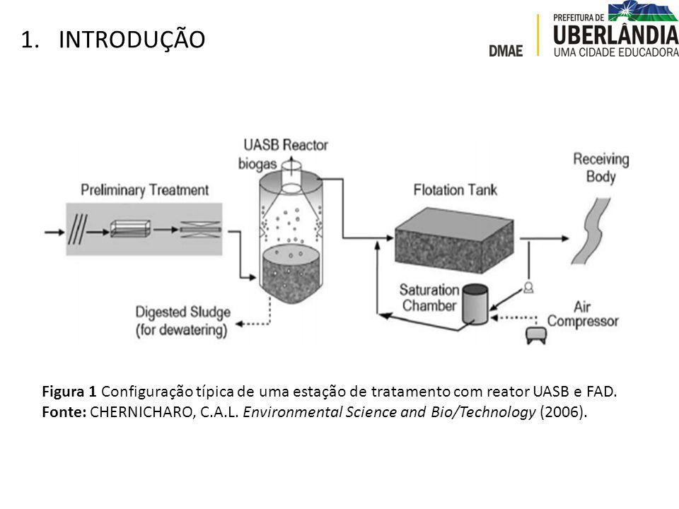 INTRODUÇÃO Figura 1 Configuração típica de uma estação de tratamento com reator UASB e FAD.