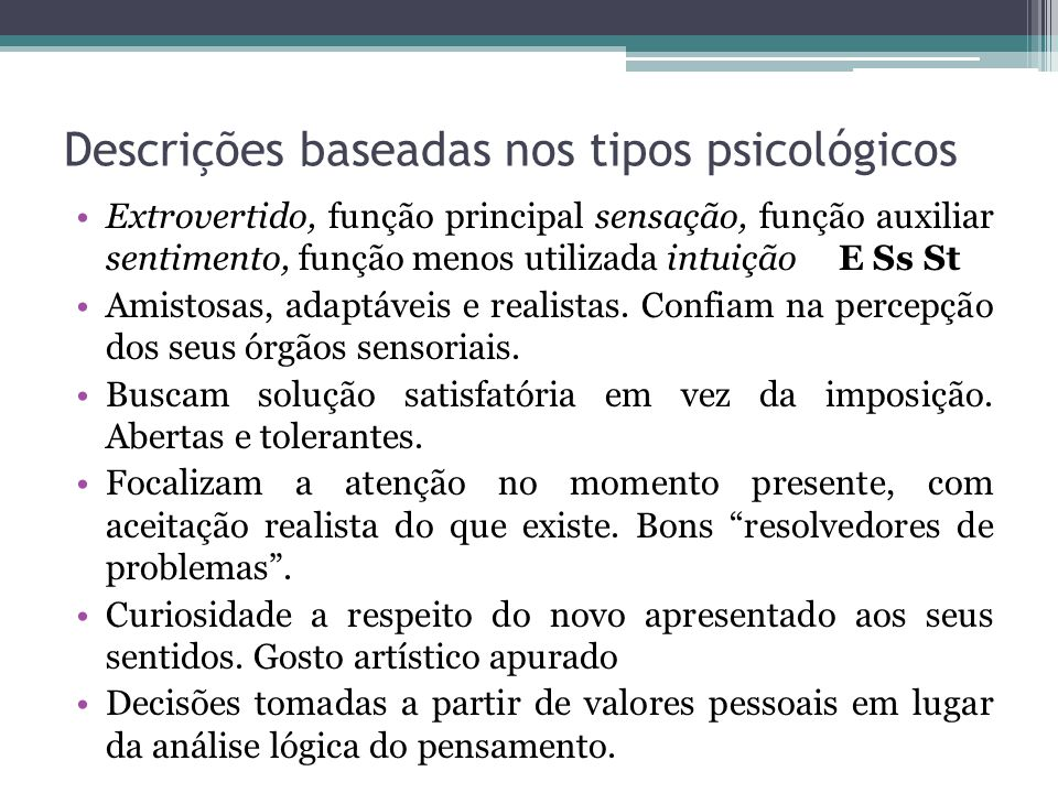 Descrições baseadas nos tipos psicológicos