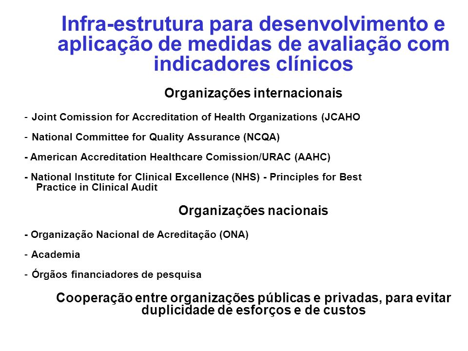 Organizações internacionais Organizações nacionais