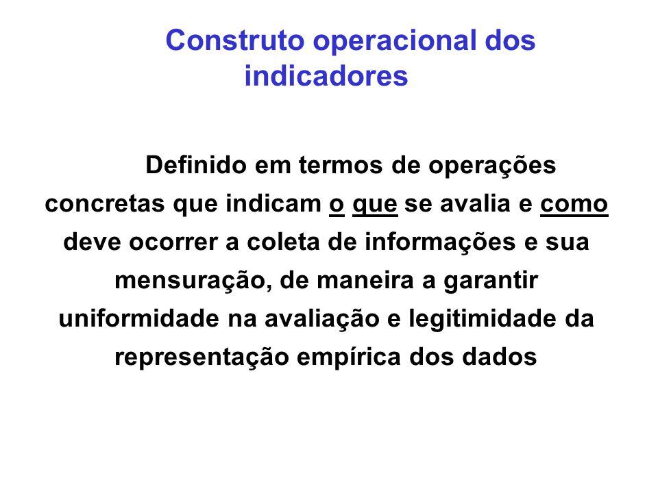 Construto operacional dos indicadores
