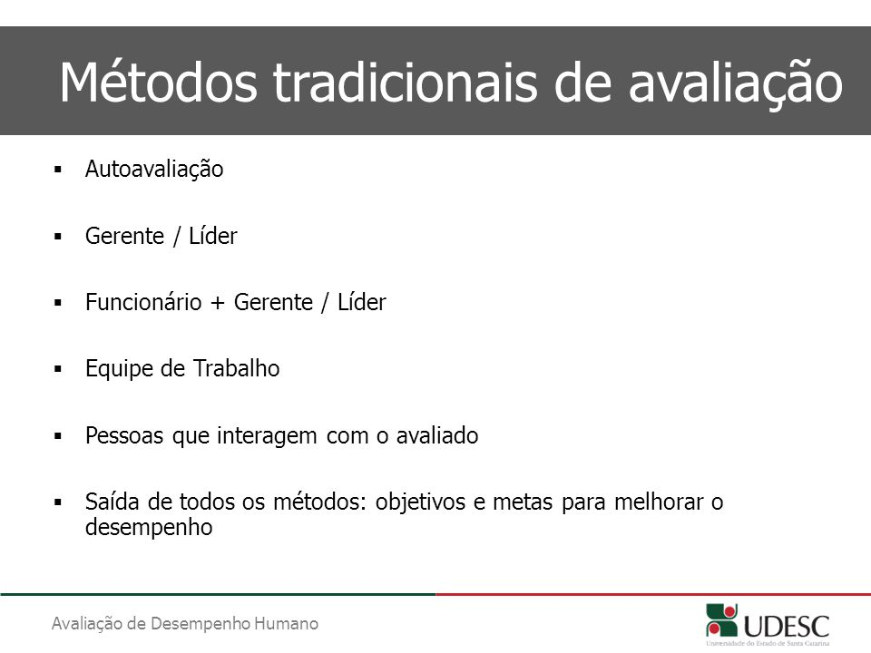 Métodos tradicionais de avaliação
