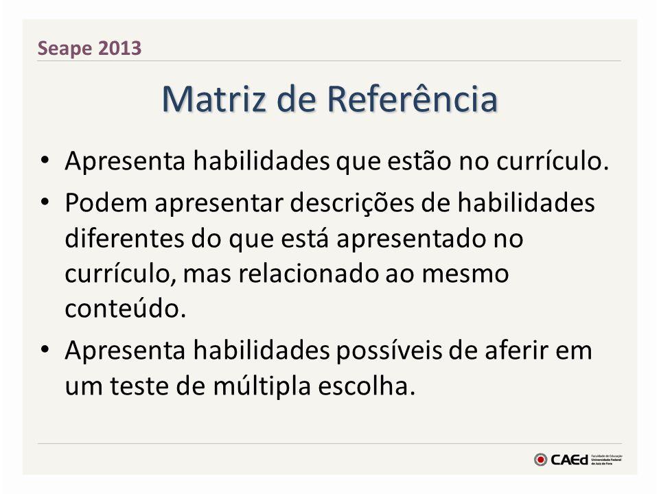 Matriz de Referência Apresenta habilidades que estão no currículo.