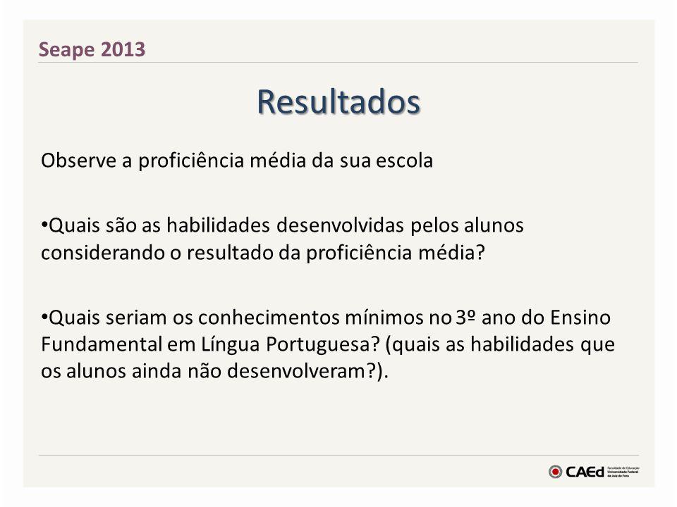 Resultados Seape 2013 Observe a proficiência média da sua escola