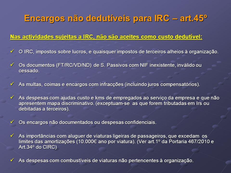 Encargos não dedutíveis para IRC – art.45º