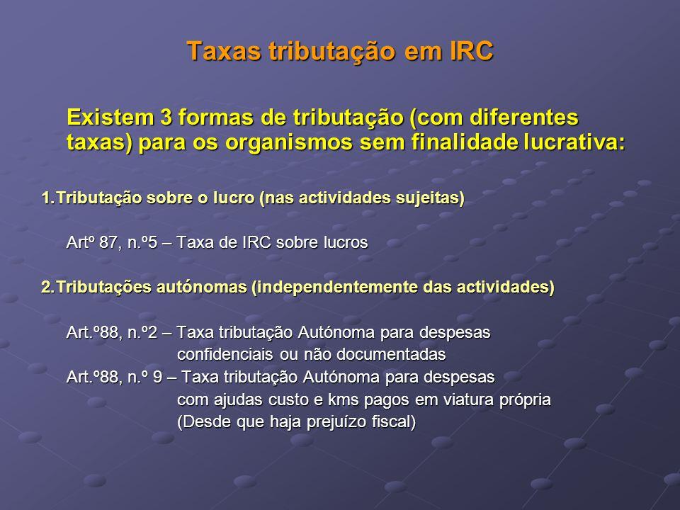 Taxas tributação em IRC