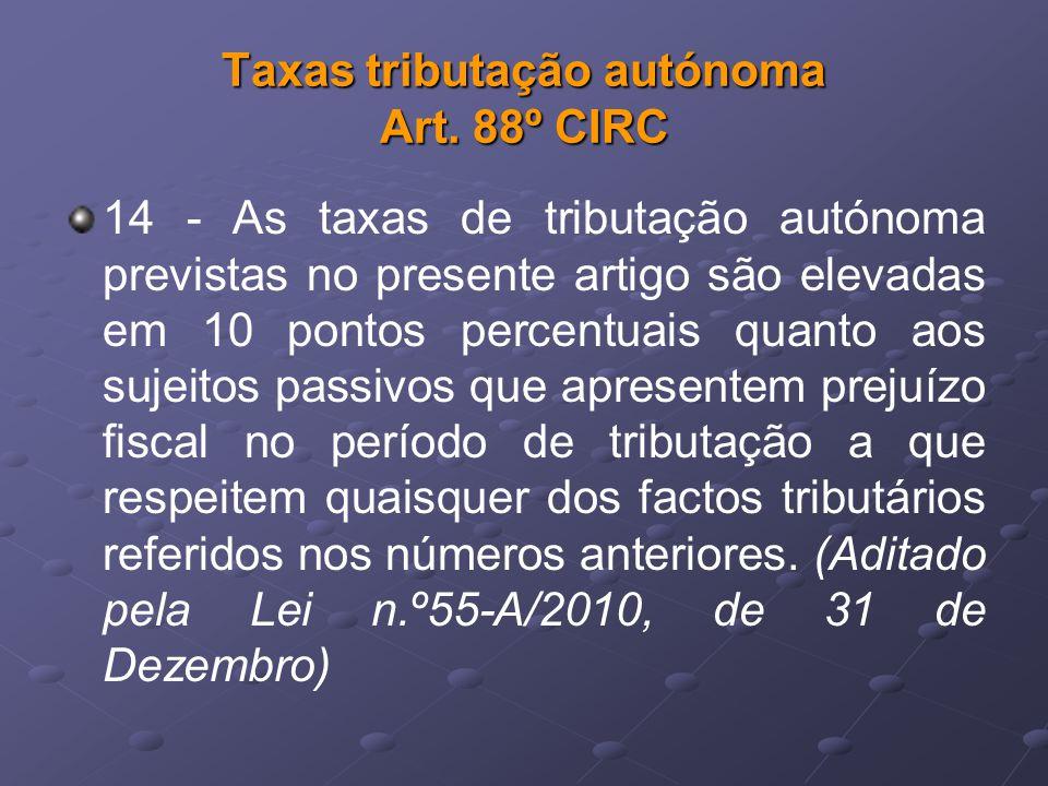 Taxas tributação autónoma Art. 88º CIRC