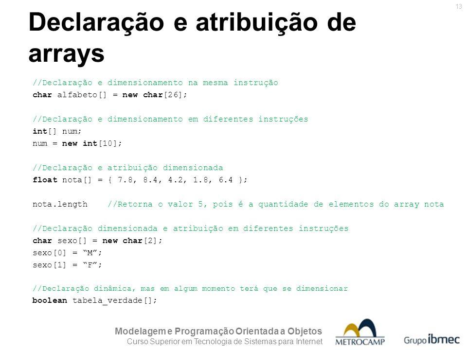 Declaração e atribuição de arrays