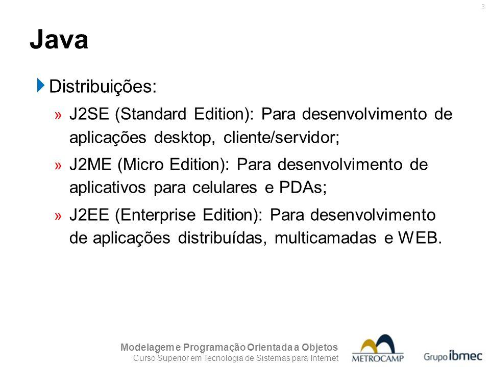 Java Distribuições: J2SE (Standard Edition): Para desenvolvimento de aplicações desktop, cliente/servidor;