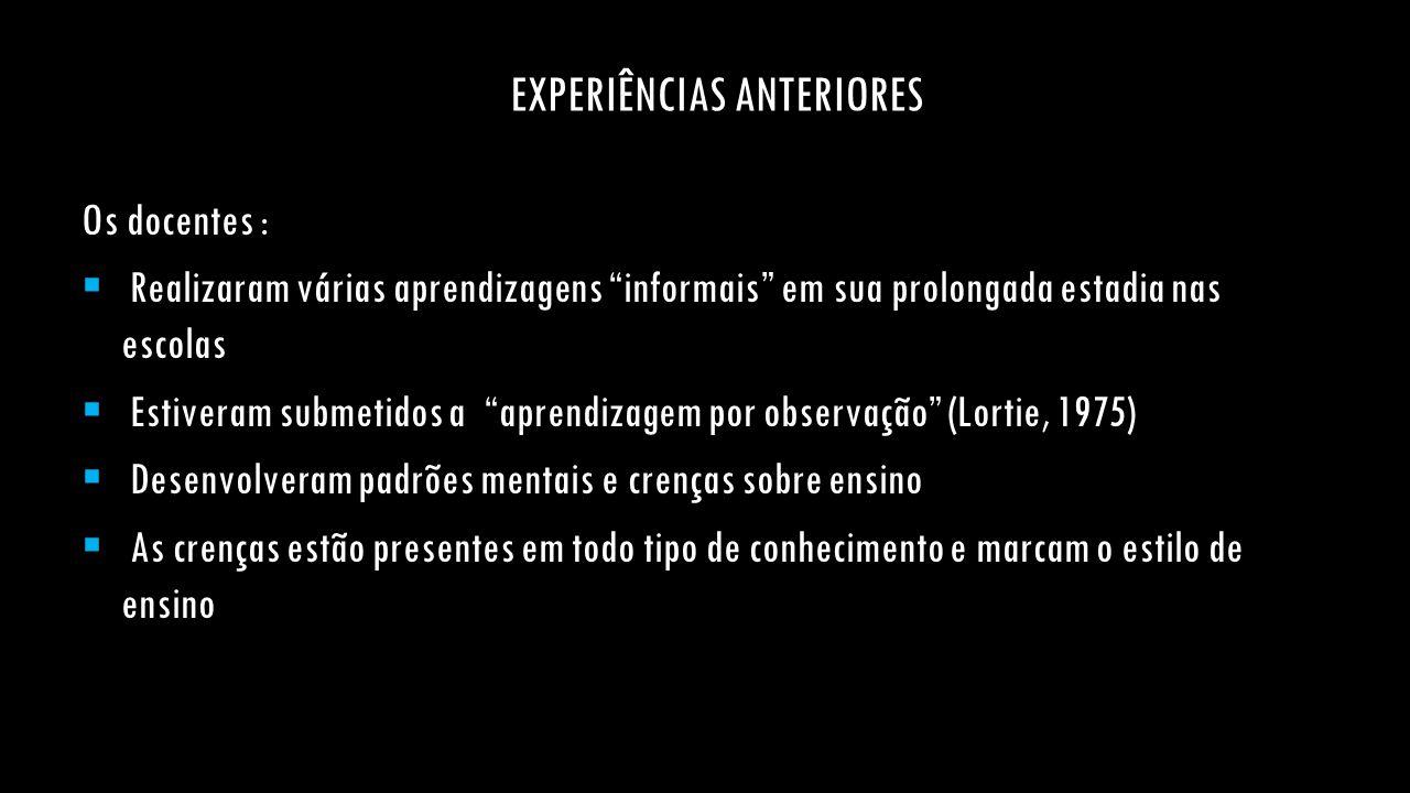 EXPERIÊNCIAS ANTERIORES