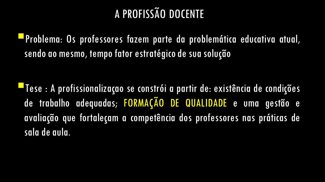 A PROFISSÃO DOCENTE Problema: Os professores fazem parte da problemática educativa atual, sendo ao mesmo, tempo fator estratégico de sua solução.