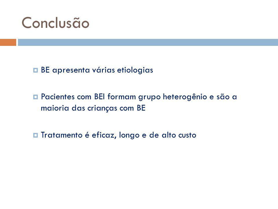 Conclusão BE apresenta várias etiologias
