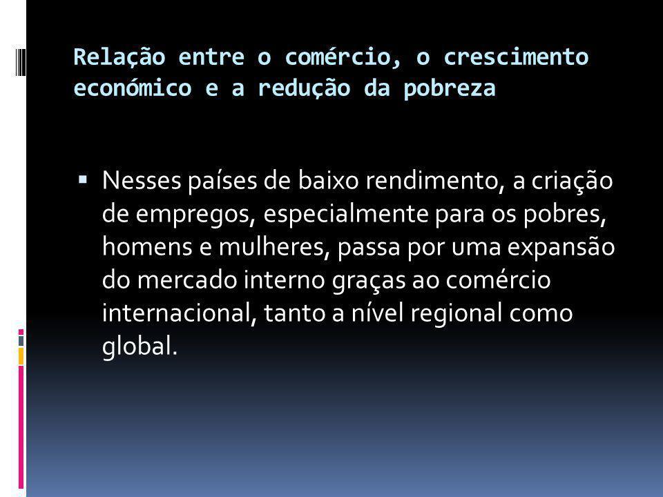 Relação entre o comércio, o crescimento económico e a redução da pobreza