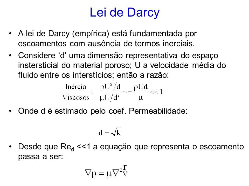 Lei de Darcy A lei de Darcy (empírica) está fundamentada por escoamentos com ausência de termos inerciais.