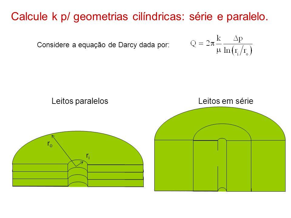 Calcule k p/ geometrias cilíndricas: série e paralelo.