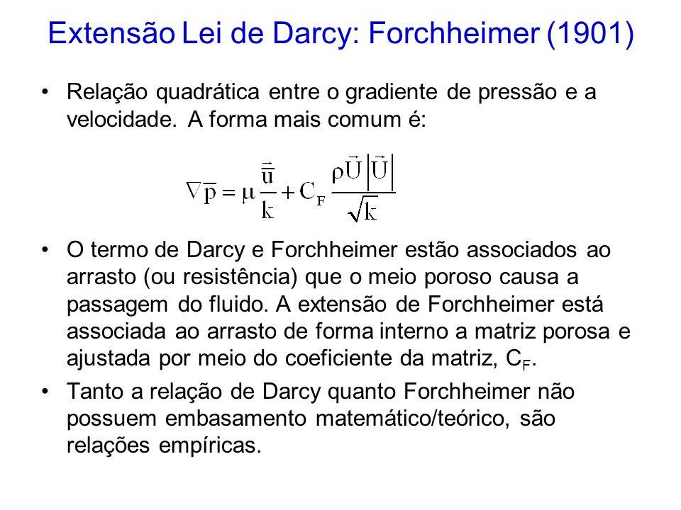 Extensão Lei de Darcy: Forchheimer (1901)