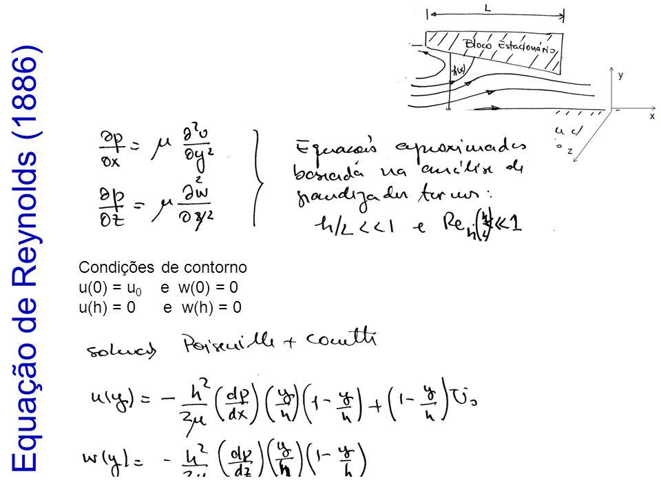 Equação de Reynolds (1886) Condições de contorno u(0) = u0 e w(0) = 0