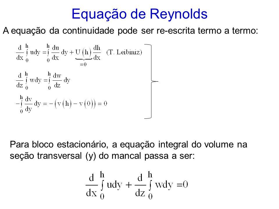 Equação de Reynolds A equação da continuidade pode ser re-escrita termo a termo: