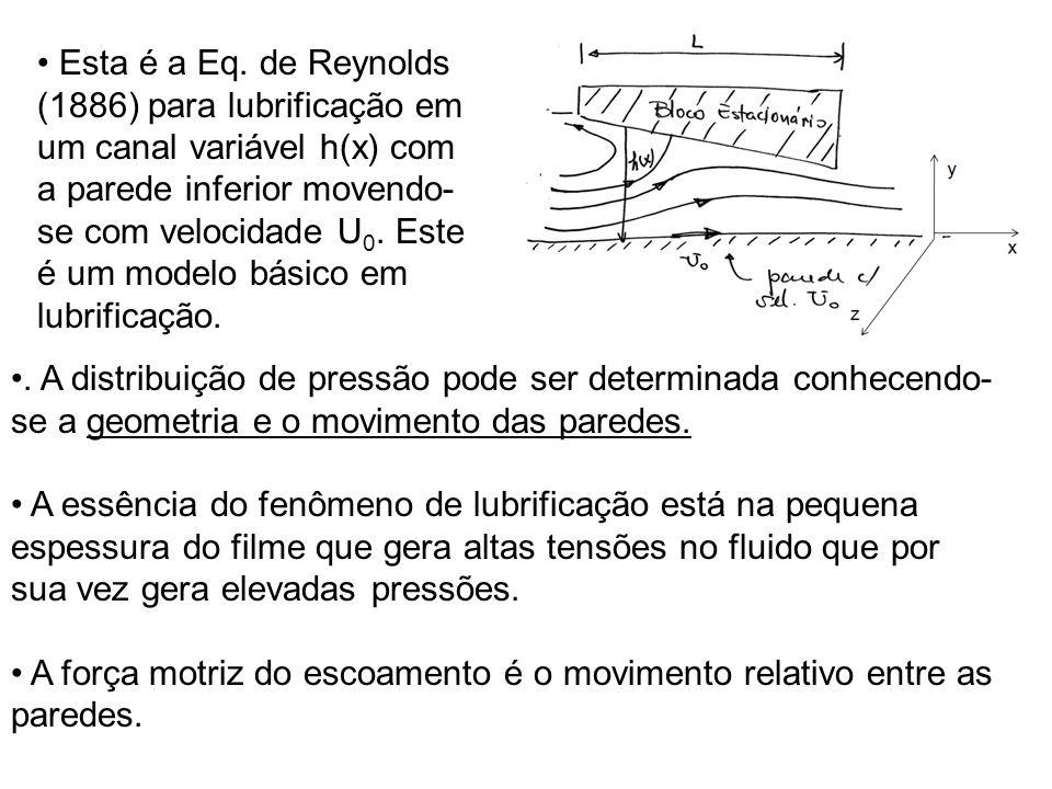 Esta é a Eq. de Reynolds (1886) para lubrificação em um canal variável h(x) com a parede inferior movendo-se com velocidade U0. Este é um modelo básico em lubrificação.