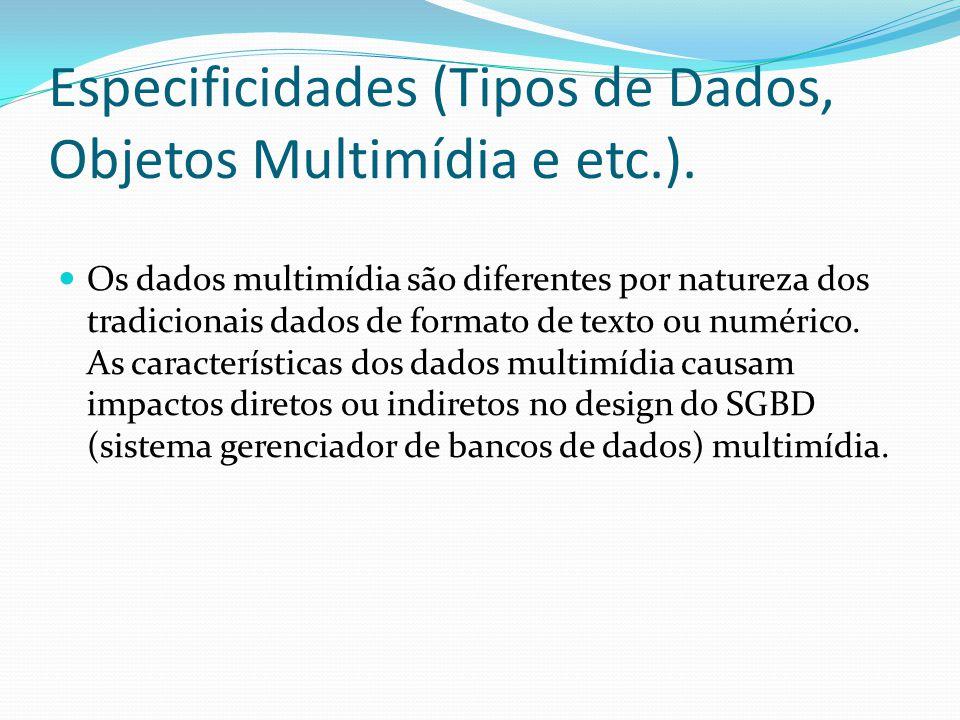 Especificidades (Tipos de Dados, Objetos Multimídia e etc.).