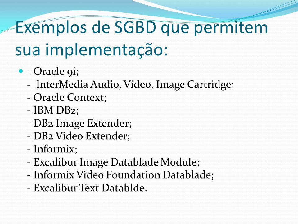 Exemplos de SGBD que permitem sua implementação: