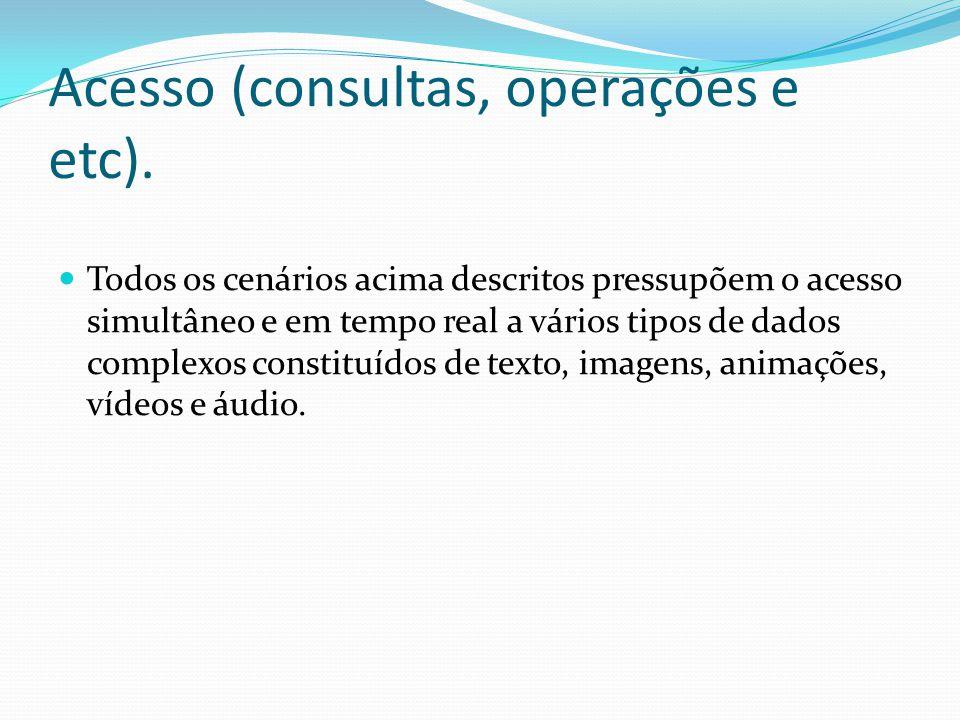 Acesso (consultas, operações e etc).