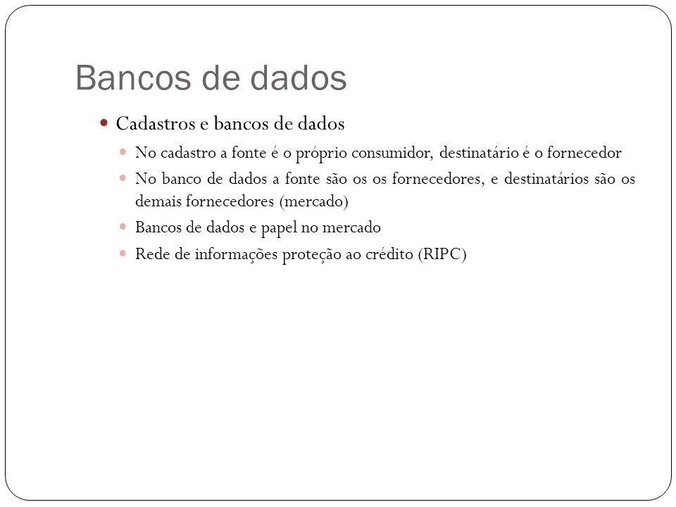 Bancos de dados Cadastros e bancos de dados