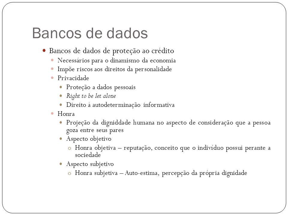 Bancos de dados Bancos de dados de proteção ao crédito
