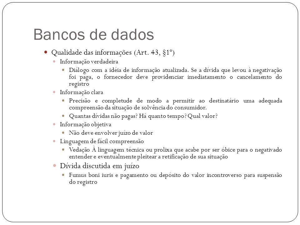 Bancos de dados Dívida discutida em juízo