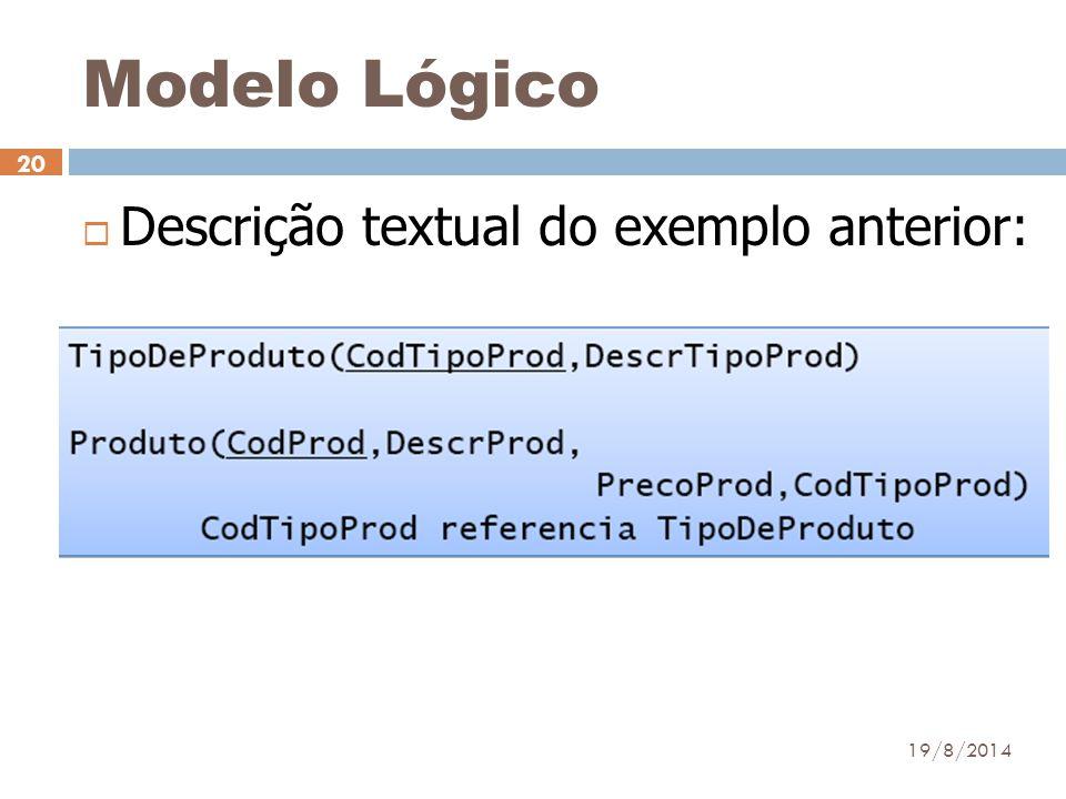 Modelo Lógico Descrição textual do exemplo anterior: 05/04/2017