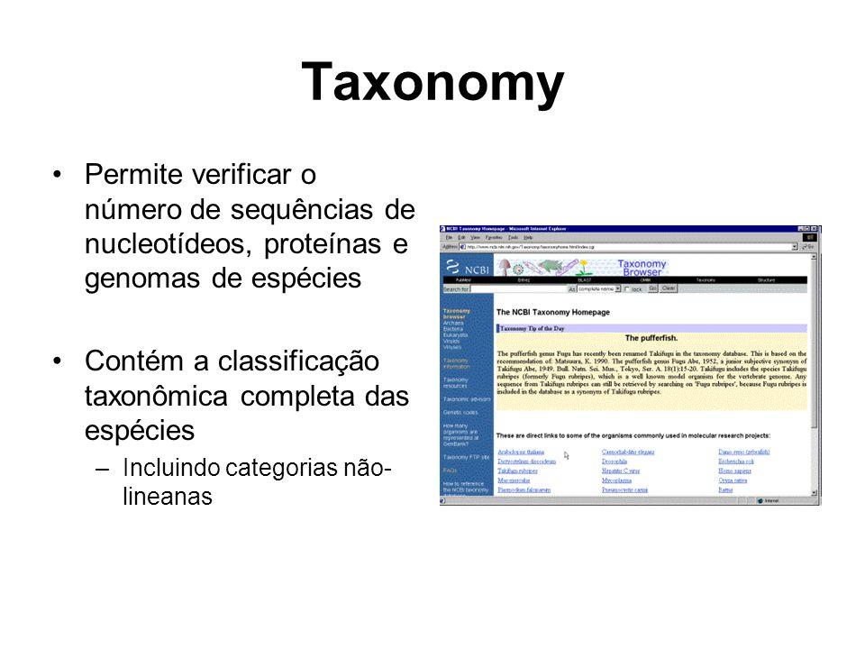 Taxonomy Permite verificar o número de sequências de nucleotídeos, proteínas e genomas de espécies.