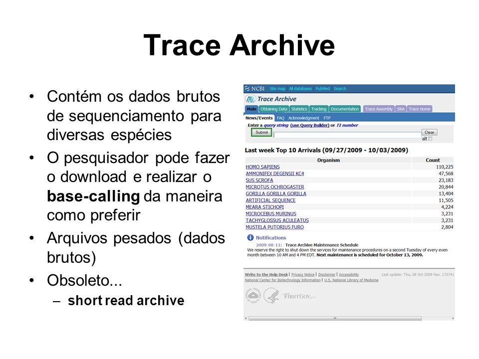 Trace Archive Contém os dados brutos de sequenciamento para diversas espécies.