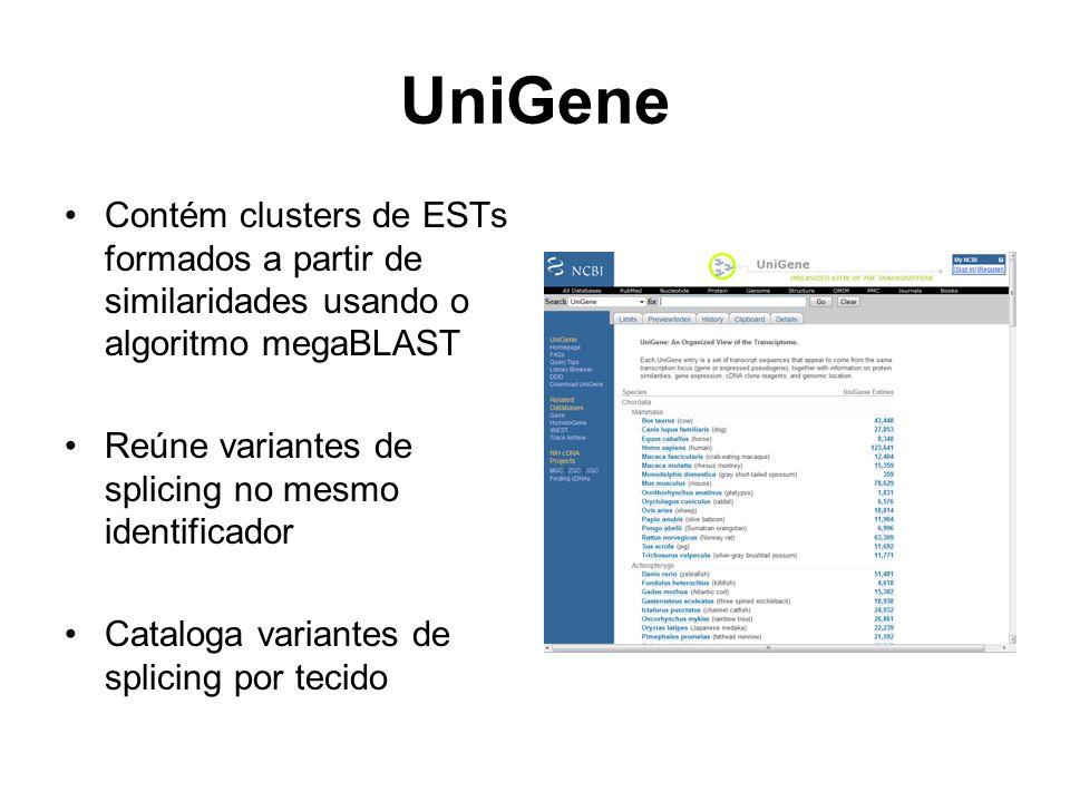 UniGene Contém clusters de ESTs formados a partir de similaridades usando o algoritmo megaBLAST. Reúne variantes de splicing no mesmo identificador.