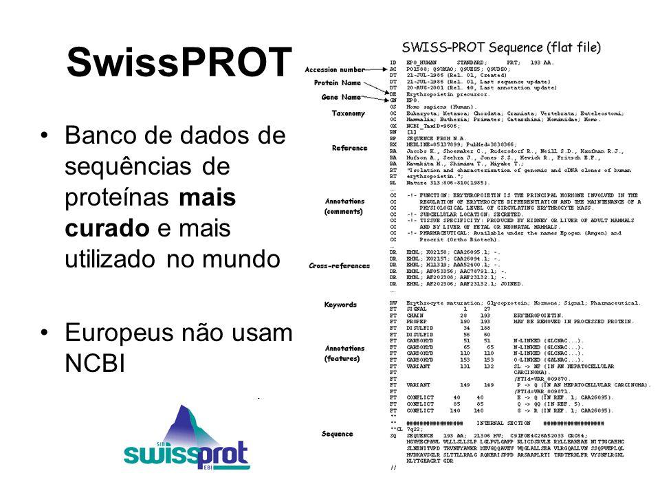 SwissPROT Banco de dados de sequências de proteínas mais curado e mais utilizado no mundo.