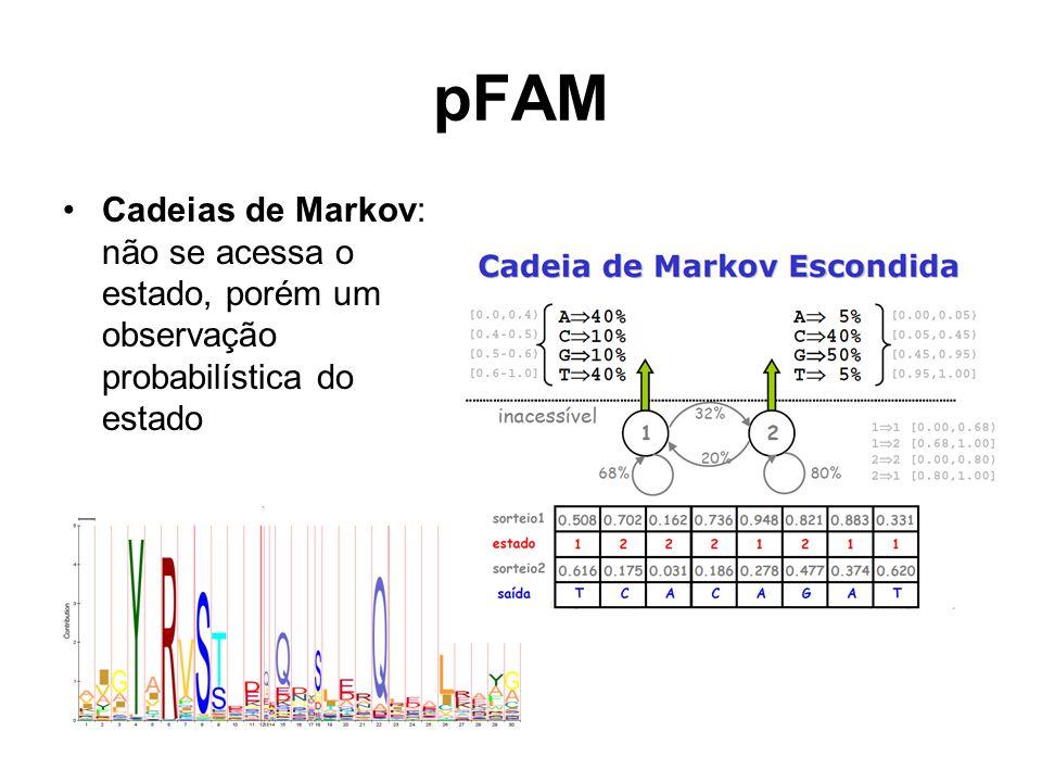 pFAM Cadeias de Markov: não se acessa o estado, porém um observação probabilística do estado